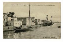 Saint Louis - Le Quai Du Fleuve Sénégal (nord) Avant Son élargissement (voilier, Grues, Animation) Circ Timbres Décollés - Sénégal