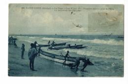 Saint Louis - La Plageà Guet N' Dar (II) - Premiers Départs Pour La Pêche - Le Lancement Des Pirogues - Circulé 1914 - Sénégal