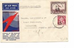 SH 0442. PA 4 + TP 339 BRUXELLES 8.XII.1933 S/Lettre Imperial Airways BRUXELLES-Londres-SINGAPORE. Vdb 128. Ind. 24 - Poste Aérienne
