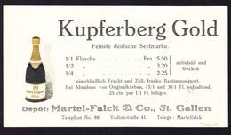 1908 Firmenkarte Deutscher Sekt Kupferberg Gold. Stempel Maloja-Kulm Auf 2Rp Eindruck - Entiers Postaux