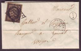 """VOSGES - LAC - Tàd T15 REMIREMONT (1850) + Grille Sur N° 3  (20c Noir Cérès) + BR """"I"""" (Tholy, Identifiée) -> EPINAL - 1849-1876: Période Classique"""