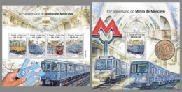SAO TOME 2020 MNH Moscow Metro U-Bahn Subway M/S+S/S - IMPERFORATED - DH2015 - Trains
