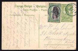 ENTIER POSTAL 1916 - STIBBE 42 + MOLS - ELISABETHVILLE > LONDON - VIEW 44 Le Port De Leopoldville - Belgisch-Kongo
