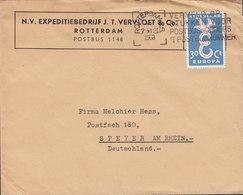 Netherlands N.V. EXPEDITIEBEDRIJF J. T. VERLOET & Co., ROTTERDAM 1958 Cover Brief SPEYER Germany Europa CEPT - Storia Postale