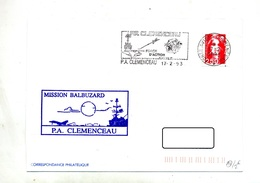 Lettre Flamme Porte Avion Clemenceau Force Action + Bateau Clemenceau - Mechanical Postmarks (Advertisement)