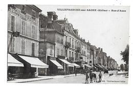 69  -  CPA  De  VILLEFRANCHE  Sur  SAÔNE  - Commerces  ,  Rue   D ' Anse   (  Très  Animée  ) - Villefranche-sur-Saone