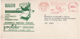 TURA PAPEL E PELICULAS , Mechanical Meter , Ema , 1980 ,  Halco , Copylyn , Profoto , Santa Justa Postmark - Poststempel (Marcophilie)