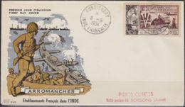 INDE: YVERT PA N° 46 OBLITERE SUR ENVELOPPE 1 Er JOUR DU 08/06/1954 (LEGERS POINTS DE ROUILLE) - (160) - Indië (1892-1954)