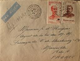2335 - COLONIES FR. - N°308 + 316 Sur ✉️ - TAMATAVE (MADAGASCAR) 20 MAI 1949 à MARSEILLE - Madagascar (1889-1960)