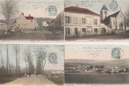 4 CPA COULEUR:CRÉZANCY (02) PAROY,LA LEVÉE PONT DE PAROY,ÉGLISE MAIRIE ÉCOLE COMMUNALE,VUE..ÉCRITES - Francia