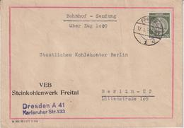 DDR, Brief ZKD Steinkohlenwerk Freital, Bahnhof-Sendung , Bergbau, 1959 - Briefe U. Dokumente