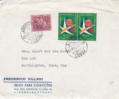 """FREDERICO VILLANI, SELOS PARA COLECÇOES"" PORTUGAL COMMERCIAL COVER, CIRCULATED LISBOA TO WORTHINGTON, USA 1958 -LILHU - 1910-... Republic"