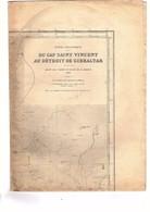 Carte Océan Atlantique Du Cap Saint Vincent Au Détroit De Gibraltar Dépôt Des Cartes Et Plans De La Marine 1866 Ed. 1918 - Cartas Náuticas