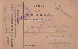 Carte De Franchise Pour Prisonniers De Guerre Dépot De VIERZON Détachement De La Croix Bodin 1918 - Marcophilie (Lettres)