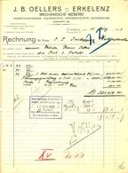 """ERKELENZ Rechnung 1923 """" J.B.Oellers - Mechanische Weberei Kleiderstoffe Unterröcke Decken Satins """" - Textilos & Vestidos"""