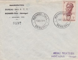 """""""BUREAU DES P.T.T. DE RICHARD-TOLL"""" SENEGAL COMMERCIAL COVER, CIRCULATED  RICHARD-TOLL TO SAINT LOUIS IN 1948 -LILHU - Covers & Documents"""