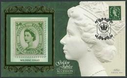 2002 GB Queen Elizabeth 2nd, Wilding Essay, QE2 Golden Jubilee, Benham Silk Cover - 1952-.... (Elizabeth II)