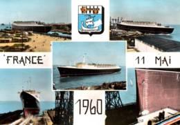 """CPSM - Cie Gale Transatlantique - PAQUEBOT """"FRANCE"""" - Lancement Le 11 Mai 1960 - Edition Estel - Piroscafi"""