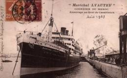 """CPA - Cie Navigation PAQUET - PAQUEBOT """"MARECHAL LYAUTEY""""- Edition T.Olive - Steamers"""
