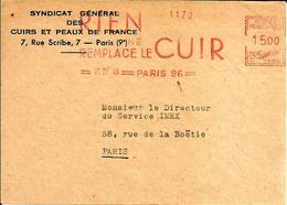 Lettre  EMA Havas C  1949 Metier Syndicat Cuir Et Peaux France Rien Remplace Le Cuir Paris  C17/02 - EMA (Printer Machine)