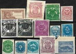 196 - COLOMBIA AND PROVINCES - 1860-1900 - SMALL SELECTION OF FORGERIES, FALSES, FALSCHEN, FAKES, FALSOS - Colecciones (sin álbumes)