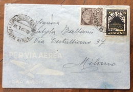 LERO PORTO LAGO - (EGEO)* POSTA AEREA *31/1/40 Su RODI 50 +50 P.A. SU  BUSTA PAR AVION PER MILANO - Egeo