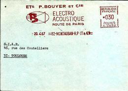 Lettre  EMA Havas C  1967 Ets PBouyer Electro Acoustique Musique  82 Montauban   C17/07 - Poststempel (Briefe)