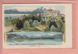 OUDE POSTKAART ZWITSERLAND - SCHWEIZ -     HOTEL DU PARC PENSION GOTTLIEBEN - MEGGEN  1913 - LU Luzern