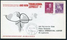 1969 Sweden SAS First Flight Card Stockholm - Manila Philippines. Slania - Lettres & Documents