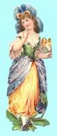 Chromo Découpi. Jeune Femme En Costume De Fleur Et Papillon à La Main. Légèrement Gaufrée. Pas De PUB. - Victorian Die-cuts