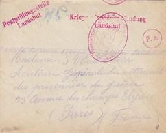Enveloppe Prisonnier De Guerre Camp De Landshut - Guerre De 1914-18
