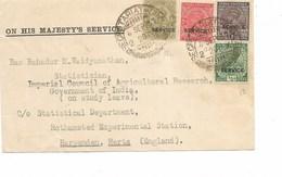 LE 0642. T. SERVICE 82-84-86-88 Obl. SECRETARIAT-GIML.. 6 SEPT 37 S/Document V. Harpenden, Herts (Angl.)-pas De Texte - India (...-1947)