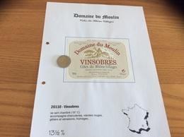 Étiquette Vin «Côtes Du Rhône Villages - VINSOBRES - Domaine Du Moulin -AGENT MC DAVELUY - Denis Vinson- Vinsobres (26)» - Côtes Du Rhône