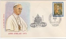 Vaticano 1975 Anno Santo Papa Paolo VI Annullo Busta Ufficiale - Popes