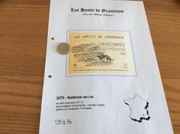 Étiquette Vin 1999 «Côtes Du Rhône Villages - VINSOBRES - LES HATS DE GRAMENON -AUBÉRY LAURENT- Montbrizon-sur-lez (26)» - Côtes Du Rhône