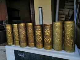 Lot De 14 Magnifiques Vase ARTISANAT DES TRANCHEES Douilles Ciseler Par Les Poilus    14.18 - 1914-18