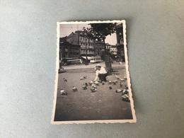 Liege1937 Place Avec Tramway Dame Nourrissant Les Pigeons - Lieux