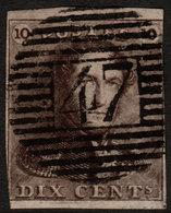 ✔️ België 1849 - Epauletten - 47 GEMBLOUX - COB 1 (o) - 1849 Epaulettes