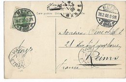 PARIS Mécanique PARIS ETRANGER En Arrivée 29.2.1908 Ref Dreyfuss A00805 Sur Cpa METZ (occupation Allemande)   ...G - Storia Postale
