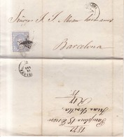 Año 1870 Edifil 107 50m Sellos Efigie Carta  Matasellos Rombo Pamplona A Barcelona  Juan Sevilla - 1868-70 Gobierno Provisional