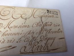 LETTRE AVEC  MARQUE LINÉAIRE  MANTES SUR SEINE  18 NOVEMBRE 1772  MANTES POUR PARIS - 1701-1800: Precursors XVIII