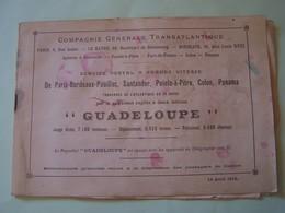 """PAQUEBOT """"GUADELOUPE"""". LISTE DES PASSAGERS DU 16 MARS 1913.  100_9400 - Paquebots"""