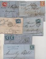 Ambulants: MARSEILLE à LYON, CALAIS à PARIS, STRASBOURG à PARIS, CETTE à BORDEAUX, BORDEAUX à CETTE, GARE De MULHOUSE - 1849-1876: Période Classique