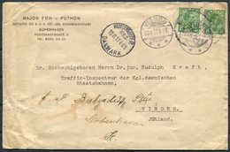 1917 Copenhagen Cover, Major Von Puthon, K.u.K. Ost. Ung. Kriegsministeriums, War Ministry - State Railway, Viborg - 1913-47 (Christian X)