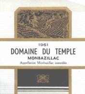 ETIQUETTE - ALCOOL - VIN MONBAZILLAC - DOMAINE DU TEMPLE  - 1961 - Monbazillac