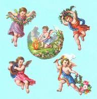 Lot De 5 Jolis Petits Chromos Découpi. Anges, Angelots. Gaufrés. - Angels