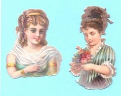 Lot De 2 Jolis Petits Chromos Découpi. Demoiselles. Gaufrés. - Angels
