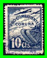 ESPAÑA BONITO DE 10 CENTIMOS SELLO LOCAL - PRO - COMBATIENTES - CORUÑA - Impuestos De Guerra