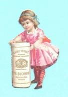 Joli Petits Chromos Découpi Cacao Suchard. Petite Fille En Habit Rose. Découpage. - Angels