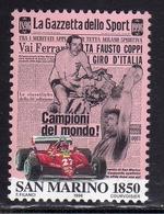 REPUBBLICA DI SAN MARINO 1996 CENTENARIO DELLA GAZZETTA DELLO SPORT CENTENARY LIRE 1850 MNH - San Marino